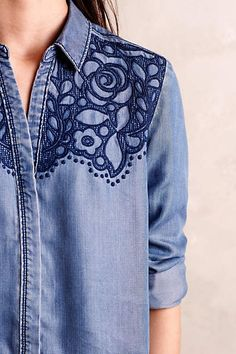 Amazing denim shirt with a nice print pretty detailing on this chambray Detail in classic Chambray Shop Anthropologie's curated collection of Winter Clothing, brimming with new arrivals & timeless classics Women's Regular Denim Long Sleeve Sleeve Button D Mode Style, Style Me, Chemises Country, Denim Fashion, Womens Fashion, Petite Fashion, Street Fashion, Fall Fashion, Estilo Jeans