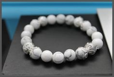 White Turquoise Gemstone Princess Delight Bracelet. Purchase for $12 via safe PayPal transaction by clicking link below http://accessoriestreasurehunt.com/shop/white-turquoise-gemstone-princess-delight-bracelet/