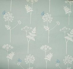 Cow Parsley and Butterfly Wallpaper Cow parsley design in cream on duck egg with a blue butterfly.