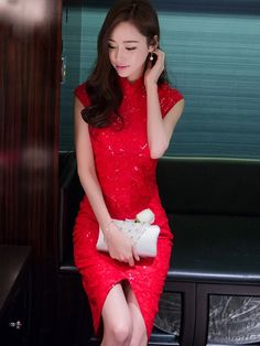 Lace Qipao / Cheongsam Dress with Split Front