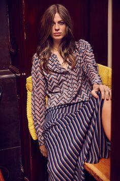 Vinita stretch silk Maxi dress in the stunning Dessau Navy print.