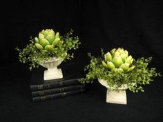 Pair of Artichoke in White Compote Urn Floral Arrangements | eBay seller/tapestry of life