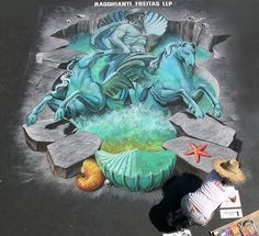 3D Street Painting - Poseidon & the Trevi Fountain by Tracy Lee Stum, via Flickr