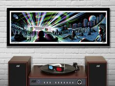 """Aurora Boreal Lawn Seats -  3D Panoramic Concert Poster with Red/Blue Glasses - 11.75x36"""" - Signed Limited Edition Art Print"""