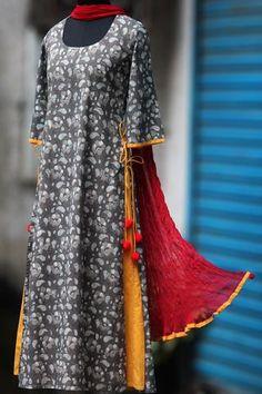 layered long kurta - grey dabu & ochre yellow