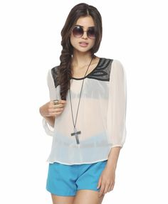 Forever 21 is the authority on fashion & the go-to retailer for the latest trends, styles & the hottest deals. Shop dresses, tops, tees, leggings & more! Sheer Blouse, Ruffle Blouse, Sexy Librarian, Forever 21, Passion For Fashion, Latest Trends, Cute Outfits, Clothes, Sheer Chiffon