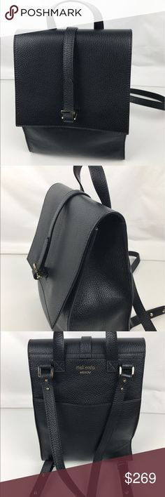 """meli melo Azzurra Italian Leather Backpack Authentic. New with Tag and Authenticity Card. A few light scratches on hardware due to handling.  Polished enough to tote to work, meli melo's clean-lined, flap front carryall offers a sophisticated interpretation of the season's most-wanted backpacks.Snap closure; lined. 2 interior slip pockets, exterior slip pocket. 8.9""""W x 4.7""""D x 10.6""""H; 2"""" handle drop. Made in Italy  Thank you for your interest!  PLEASE - NO TRADES / NO LOW BALL OFFERS / NO…"""