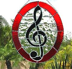 """Red Musical Stained Glass Art Design - 10"""" x 12"""""""