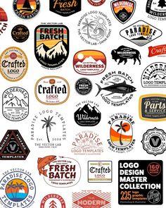 Letter Discover Logo Design Master Collection for Illustrator & Photoshop www. Logos Vintage, Vintage Logo Design, Retro Logos, Vintage Designs, Corporate Design, Branding Design, Beer Logo Design, T Shirt Logo Design, Brewery Design