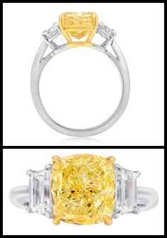 Fancy Intense Yellow Cushion Cut Three Stone Ring. Three stone engagement ring, 4.01 carat Cushion-cut Fancy Intense Yellow color diamond GIA certified VVS2 clarity, 0.97 carat Trapezoid-cut diamonds. Set in platinum and 18k yellow gold. Via 1stdibs.