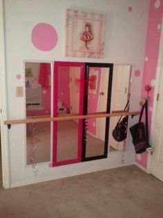 'Ballerina Bedroom' Mirrored with ballet bar.