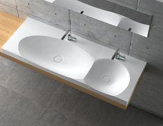 SWF3 dual sink. Material: Corian. Environment type: master bathroom