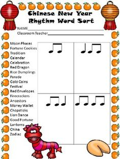 Browse over 20 educational resources created by Queen of Note in the official Teachers Pay Teachers store. Classroom Helpers, Music Classroom, Chinese New Year Music, Music Worksheets, Word Sorts, Teacher Binder, Elementary Music, Music For Kids, Music Therapy