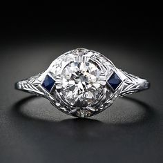 art deco & sapphire accents, with filigree and hand-carved detailing #engagement #ring