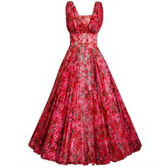 1950's Watercolor Red & Pink Roses Floral Silk-Chiffon Gown