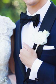 Romantic New Jersey Wedding Bow Tie Wedding, Wedding Groom, Wedding Suits, Groom Ties, Groom And Groomsmen, Wedding Blog, Wedding Styles, Black Tie Attire, Groom Boutonniere