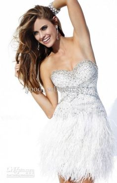 Wholesale Cocktail Dresses - Buy Sexy Short White Feathers Cocktail Dresses 2013 Sweetheart Special Occasion Dresses Beads Fashhion, | DHgate