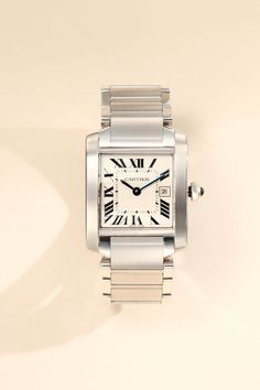 Cartier Tank Francaise Stainless Steel Watch on Bracelet. #graduationgift