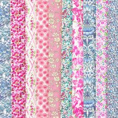 Liberty fabric - pinks and pale blue fat quarters