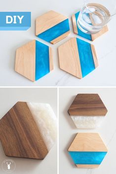 Resin Crafts Discover DIY Wood & Epoxy Hexagon Coasters How to make epoxy resin coasters. More into wood? Ill show you how to make a wooden hexagon coaster set too. Its a great DIY gift idea! Resin And Wood Diy, Epoxy Resin Wood, Diy Epoxy, Diy Resin Art, Diy Resin Crafts, Wooden Diy, Diy Wood Wall, Coaster Crafts, Diy Coasters