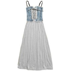Retro Strappy Maxi Dress in Denim + Grey Cotton Fabric ($55) ❤ liked on Polyvore featuring dresses, chicnova, cotton dress, grey dress, sweetheart neckline dress, retro dress and spaghetti strap maxi dress
