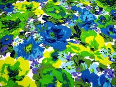 70's vintage fabric blue green yellow