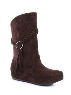 Increased Internal Weave Tassels Mid-Calf Boots