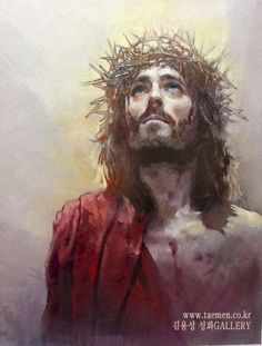 King of love      / oil on canvas                                                  by Yongsung Kim - See the crown of thorns we talked about. This is a beautiful painting of Jesus, he is looking to Heaven.