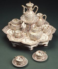 Those this particular coffee service is of a much later date, it is similar in design to the Ottoman coffee set Julian uses to make Deb a Turkish coffee. MIDNIGHT MARRIAGE
