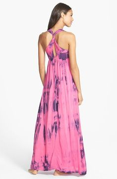 Pretty for summer. Love the twist back on this pink and purple maxi dress.