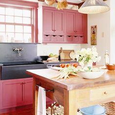Would love these for a craft room. Red Kitchen Cabinets @ Do it Yourself Home Ideas this is so inviting