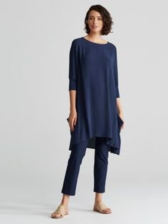 Bateau Neck Dress in Silk Georgette Crepe-R6GC-D3951