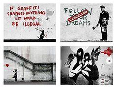 Alonline Art - There Is Always Hope Flower Thrower by Banksy Balloon Girl Banksy, Wall Sticker, Vinyl Decals, Cabinet Fronts, Balloons, Poster Prints, Wall Art, Amazon, Globes