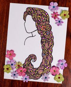 Zentangle Miles Long Hair by ZenspireDesigns on Etsy