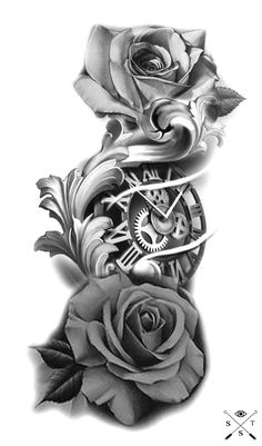 Forearm Flower Tattoo, Forearm Sleeve Tattoos, Full Sleeve Tattoos, Tattoo Sleeve Designs, Flower Tattoo Designs, Tattoo Designs For Women, Clock Tattoo Sleeve, Tattoo Clock, Hand Tattoos