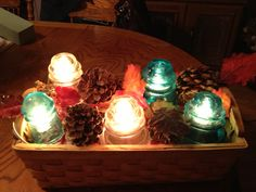 Old glass insulators made into lights.