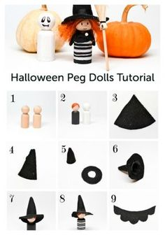 Sewing Toys Halloween Peg Dolls: Witch and Ghost Adornos Halloween, Fall Halloween, Halloween Crafts, Halloween Witches, Wood Peg Dolls, Clothespin Dolls, Doll Crafts, Diy Doll, Sewing Projects For Kids