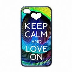 iPhone 4 Case Keep Calm and Love On Beautiful Peacock Feather Pattern