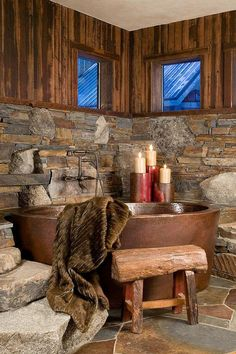 Rustic bathroom design with copper tub. Copper Tub, Hammered Copper, Stone Bathroom, Master Bathroom, Lodge Bathroom, Bathroom Beadboard, Cozy Bathroom, Man Bathroom, Remodel Bathroom
