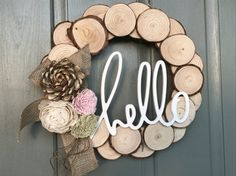 Rustic spring wood slice wreath | wood flowers | burlap | HeLLo | Easter Wreath #handmademadetoorder