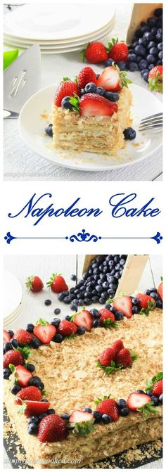 Easiest Napoleon cake recipe. Layered with delicious cream and topped with fresh berries.