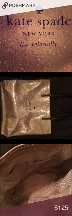 Selling this EUC Rose gold Kate Spade Bon Shopper tote on Poshmark! My username is: shlynshady. #shopmycloset #poshmark #fashion #shopping #style #forsale #Handbags