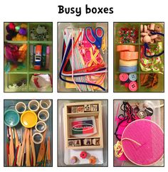 Busy boxes: lacing, cutting, gluing, clay/play-dough, stamping, sewing. Independent, contained, reusable toddler/preschooler activities.