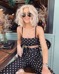 Trendy black and white polka dot two piece casual outfit. Summer Outfits, Casual Outfits, Cute Outfits, Laura Jade Stone, Fashion Beauty, Womens Fashion, Ladies Fashion, Fashion Fashion, Fashion Online