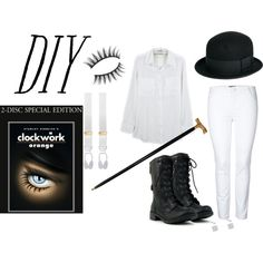 """DIY Clockwork Orange halloween costume"" by strawberryapricotpie on Polyvore"
