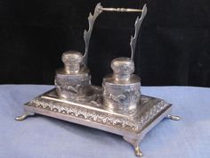 ANTIQUE INDIAN SILVER INKSTAND COLONIAL INKWELL PEN REST DESKTOP WRITING TIGER