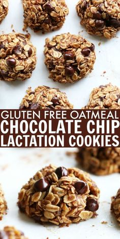 These gluten free Oatmeal Chocolate Chip Lactation Cookies are perfect whether y. - These gluten free Oatmeal Chocolate Chip Lactation Cookies are perfect whether you're a new mom o - Gluten Free Cookies, Gluten Free Desserts, Gluten Free Recipes, Baking Recipes, Cookie Recipes, Dessert Recipes, Diet Recipes, Healthy Lactation Cookies, Lactation Recipes