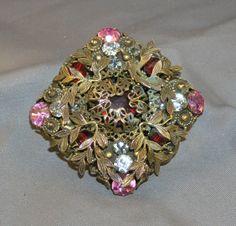 Gorgeous Vintage Sandor Pink Red Rhinestone Jeweled Filigree Brooch Signed | eBay