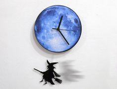 Halloween Witch Broom Blue Moon  Pendulum by ObjectIndustrialArt, $28.90