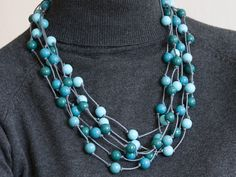 Turquoise wooden necklace